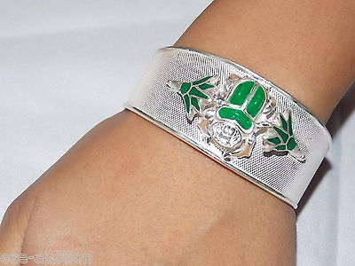 Egyptian Solid 925 Sterling Silver Stamped Handcrafted Bracelet Cuff Scarab
