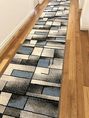 Deanne Blue Grey Abstract Hallway Runner Hall Runner Rug 3 Metres Long
