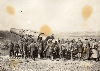 2 photos allemandes - Instruction sur un canon mortier de 420 - Guerre 1914 1918