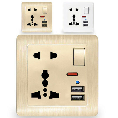 Double USB Switch Wall Socket Charger 13A Power Adapter UK Plug Outlet Panel