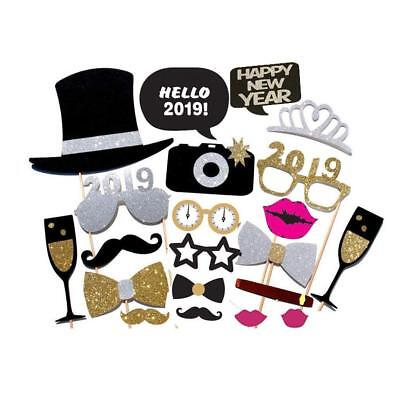 23pcs 2019 New Years Eve Party Card Masks Photo Booth Props