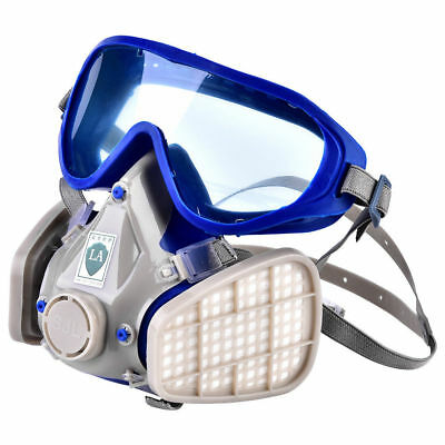 Silicone Full Face Respirator Gas Mask & Goggles Paint Fire Chemical Dustproof