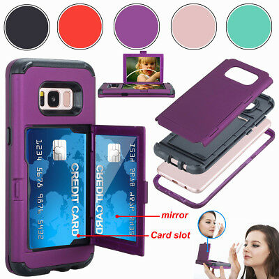 Credit Card Holder With Mirror Hybrid Phone Case For Samsung Galaxy S8/ S8+ Plus