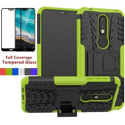 For Nokia 7.1/3.1/6.1 2018 Shockproof Rugged Heavy Duty Hard Case Cover+Tempered