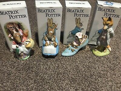 Beswick Beatrix Potter Figures Foxy Whiskered Gentleman Mrs Rabbit Old Woman