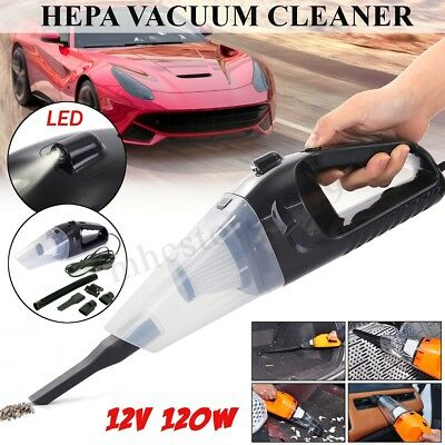 12V 120W Car Hand Held Vacuum Cleaner w/Charging Cable Dry Wet Portable w/ Light