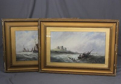 Pair of Large 19th Century Oil Paintings Seascapes Ships in a Stormy Sea