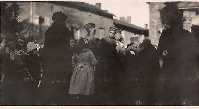 Photo USA - Villageois recevant le regiment à LOMMERANGE pres TRIEUX 1914 1918