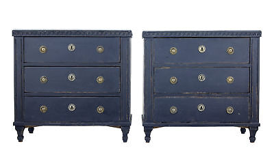 Pair Of 19Th Century Black Scandinavian Painted Chest Of Drawers