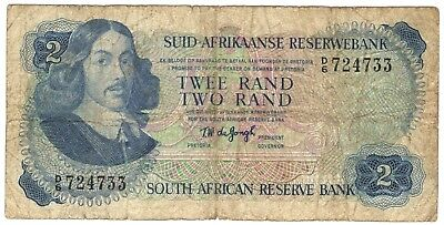 1974 South Africa 2 Rand Note.