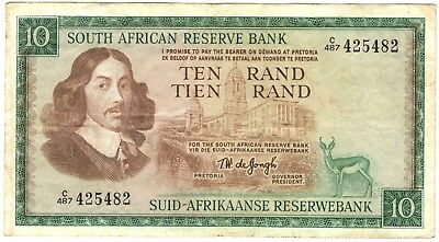 1975 South Africa 10 Rand Note.