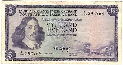 1975 South Africa 5 Rand Note.