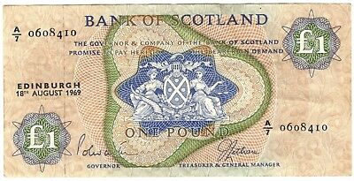 1969 Scotland 1 Pound Note.