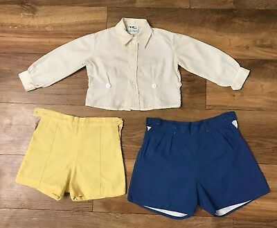 Vintage Boys Cream Shirt Buttons To Yellow & Blue Shorts 12-18 Months