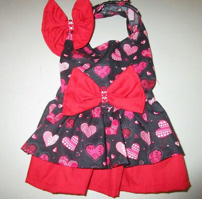 S female Dog dress [hearts,red] cotton handmade