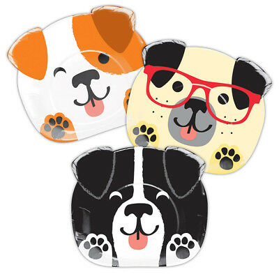 8 x Dog Shape Party Plates Dog Lovers Birthday Party Shape Puppy Face Plates