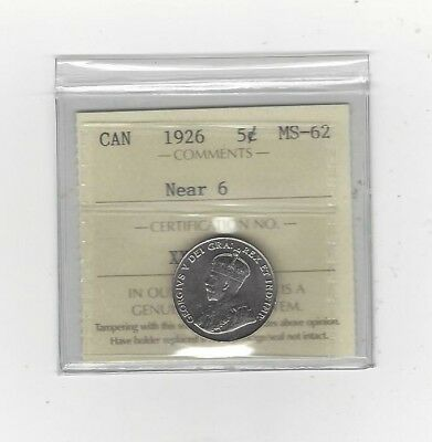 **1926 Near**,ICCS Graded Canadian, Five Cent, **MS-62**