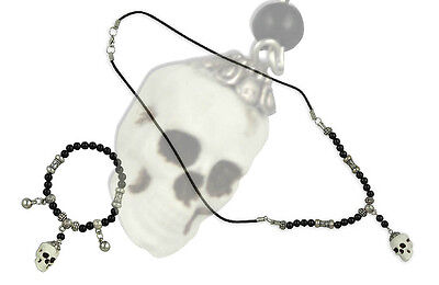 Skull Bracelet & Necklace Halloween Costume Accessory Gothic Bethany Lowe