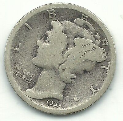 A Nice Vintage 1924 S Mercury Silver Dime-Old Us Coin-Dec386