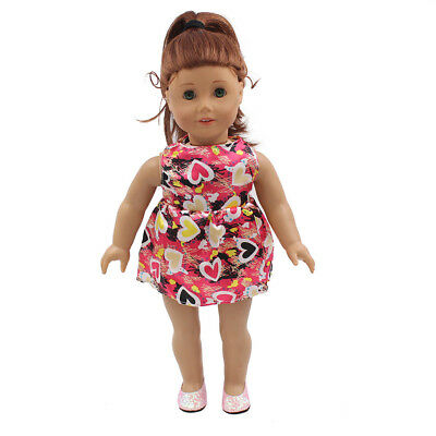 Fit For 18'' American Girl Gift Red Peach Heart Pricess Party Dress Doll Clothes