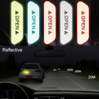 Red 4PCS Super Car Door Open Sticker Reflective Tape Safety Warning Decal
