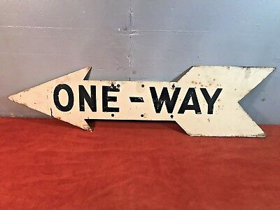 Vintage Antique Double Sided ONE-WAY Porcelain Metal Street Sign