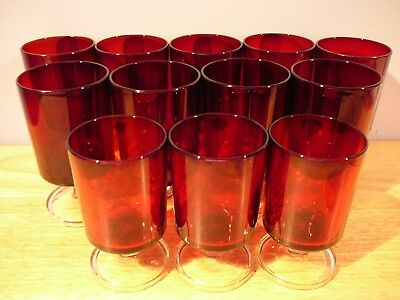 12 Ruby Red Glass Cristal D'arques Luminarc Cavalier Wine Glasses 5 Oz