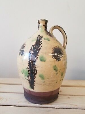 Wisconsin Pottery Large Redware Jug Primitive Decor