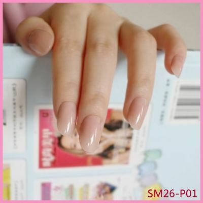 24 Pcs Oval Fake Nails Clear Plastic Soft Pink False Nails Candy Short Nail Tips
