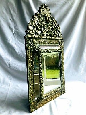 Antique French 19th Century Baroque Brass Repousse Mirror Bevelled Glass