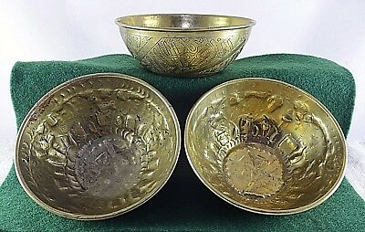 3x Vintage Brass Bowls Hand Hammered Chiseled Etched Oriental Indian Old Antique