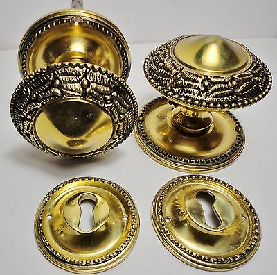 Pair VINTAGE (ANTIQUE)  BRASS DOOR KNOBS - Victorian Style - HANDLES - 60 mm