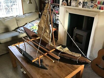 Very Large Tonga Polynesian Wooden Canoe 60inches Long In Lymington