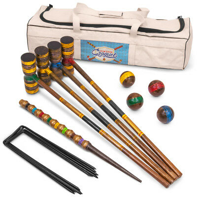 Vintage Wood Premium Croquet Set | Includes 4 Mallets, Balls, Wickets, and Stake
