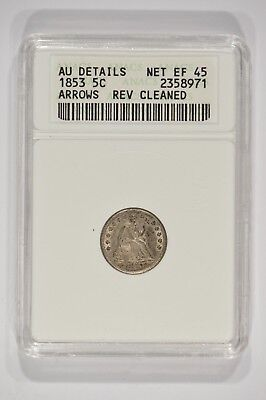 1853 Seated Liberty Half Dime H10c 5c Arrows ANACS AU Details Cleaned 2358971
