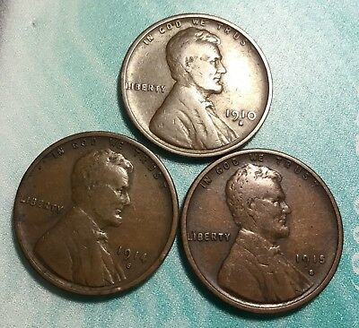 1910s, 1914s, 1915s Lincoln Cents All Nice Original F/VF Condition Great Trio!