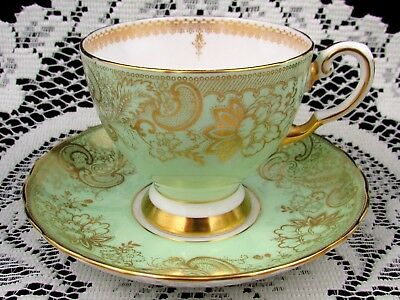 Coalport Pale Lime Green Fancy Gold Gilt Floral Tea Cup And Saucer