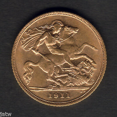 AUSTRALIA.  1911 Sydney -  Half Sovereign..  Part Lustre..  gVF/aEF