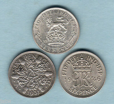 Great Britain. Sixpences:1926(Modified, EF+), 1931(EF/gEF), 1946(aU/UNC)