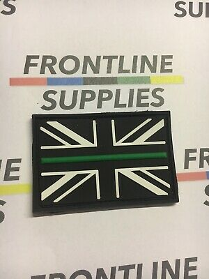 Thin Green Line Union Jack/Flag VELCRO® backed rubber patch Charity - TASC