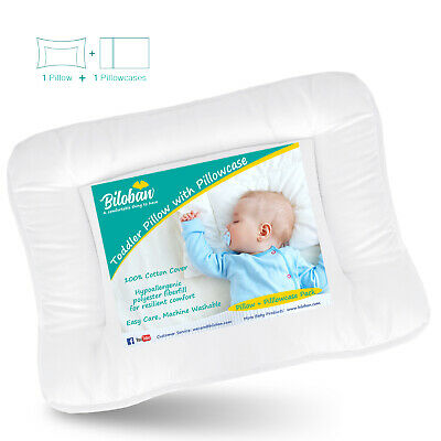 "Baby Toddler Pillow with 100% Cotton Pillowcase Infant Thin Neck Pillow 14""x19"""
