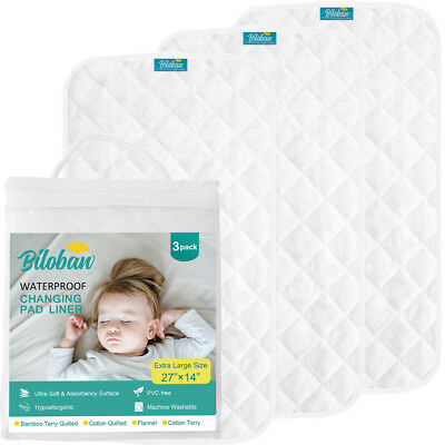 Infant Ultra Soft Bomboo Baby Diaper Changing Pad Cover Liner Waterproof 3 Pack