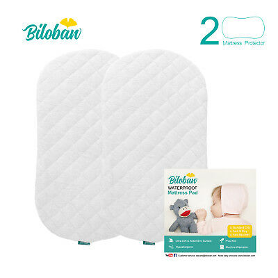 Bassinet Mattress Pad Set, Fits for Halo Bassinest, 2 Pack,Bamboo,Waterproof