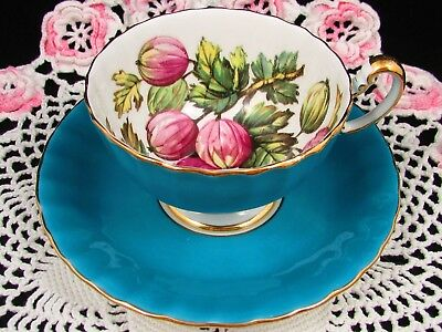 Rare Aynsley Red Goose Berry Turquoise Oban Style Tea Cup & Saucer Teacup