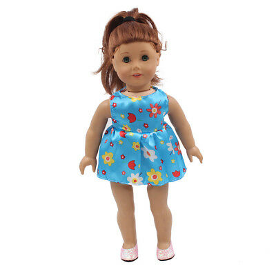Fit For 18'' American Girl Sundress Blue Flower Mini Dress Party Doll Clothes