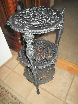Antique / Vintage Holly Wood Regency 3 Tier Black Cast Iron Plant Stand