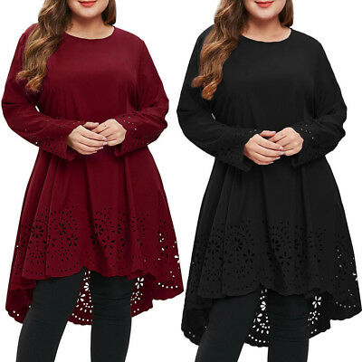 Fashion Women Long Sleeve Plus Size Foral O-Neck Evening Party Cocktail Dress