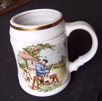 Holland wooden shoe maker handled cup mug tankard stein Royal Schwabap hand deco