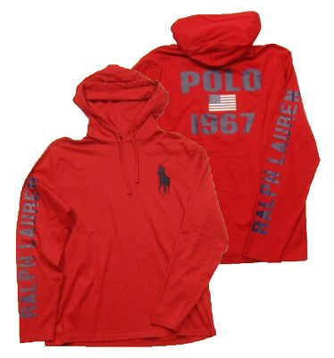 Polo Ralph Lauren Men's Big Pony Red Pullover Graphic Hooded T-Shirt