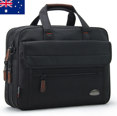 AU Large Mens Black Oxford Briefcases Bag Laptop Crossbody Briefcase Office Bag